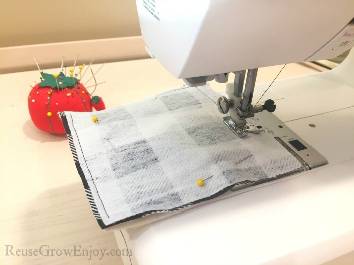 Sew pinned pieces together