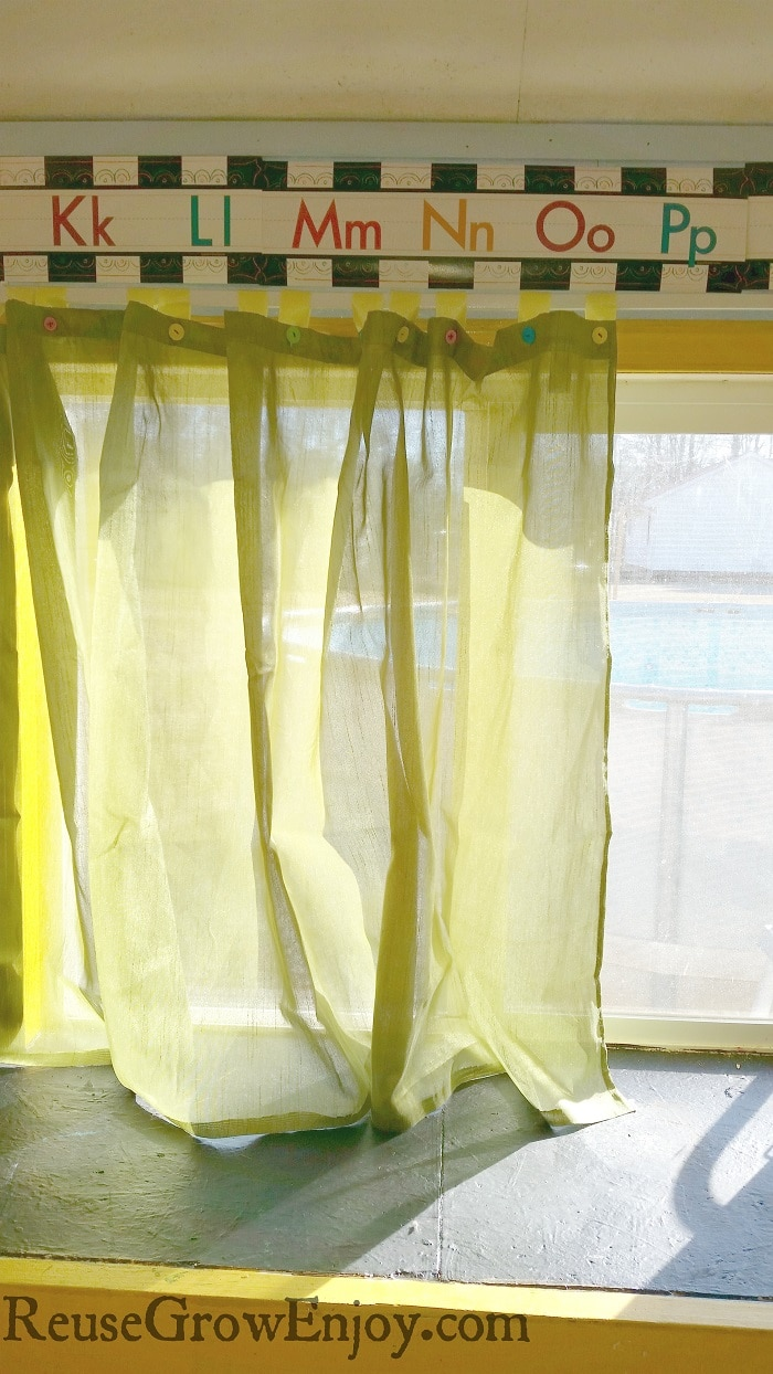 Have an old shower curtain that is stained at the bottom? Don't toss it! Reuse it to make window curtains to keep the sun out. Even the kids can help!