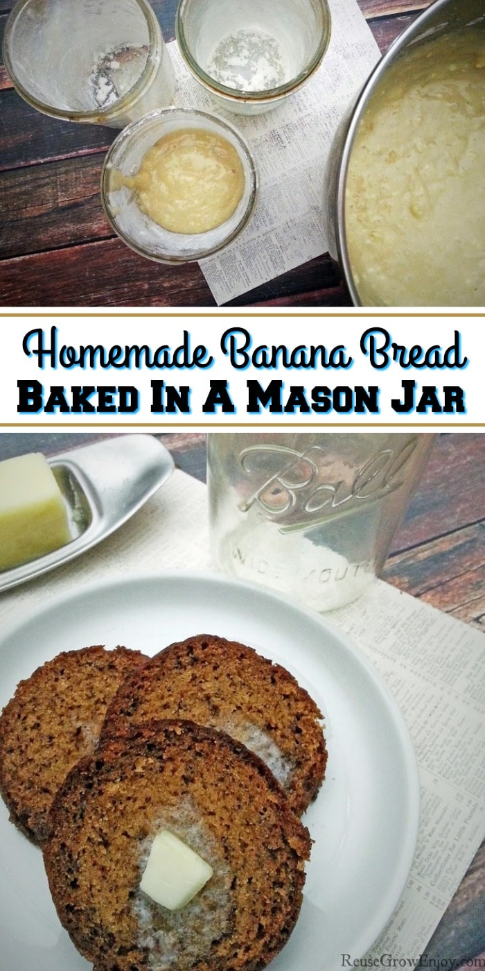 Bread mix being added to jars at the top. Text overlay in the middle. Slices of banana bread on white plate at bottom.