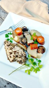 Slow Cooker Herb Chicken With Potatoes, Carrots And Mushrooms