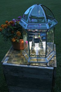 Solar Light Patio Lamp From Upcycled Pendant Light At Night