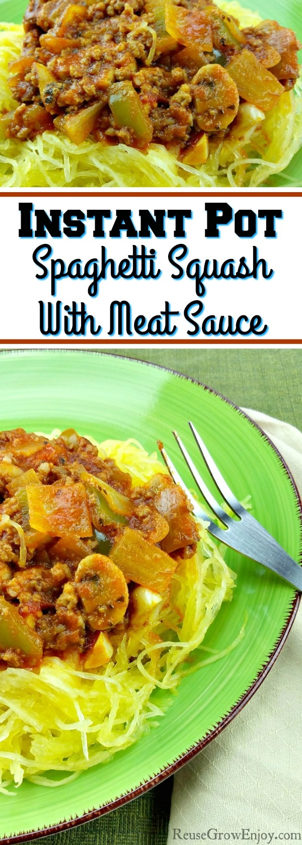 I have an awesome recipe for you to try! This recipe is made start to finish in the Instant Pot. It is a recipe for Instant Pot Spaghetti Squash With Meat Sauce.