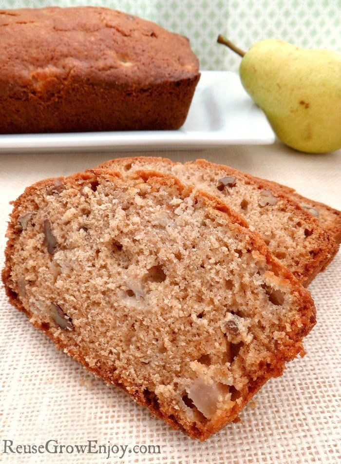 If you like a good bread recipe, I have one for you to try. It is a yummy spiced pear bread recipe. It is great any time of year but I love making it best as a fall recipe!