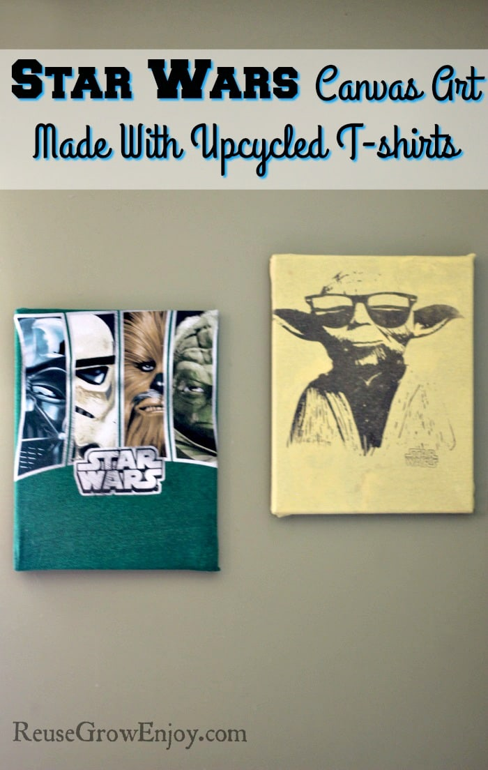What do you do when your kid has a lot of t-shirts that they love but they have outgrown them or there are hideous stains? You turn them into something cool, like a Star Wars canvas art!