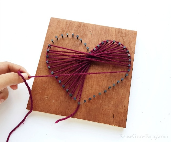 String half way around heart
