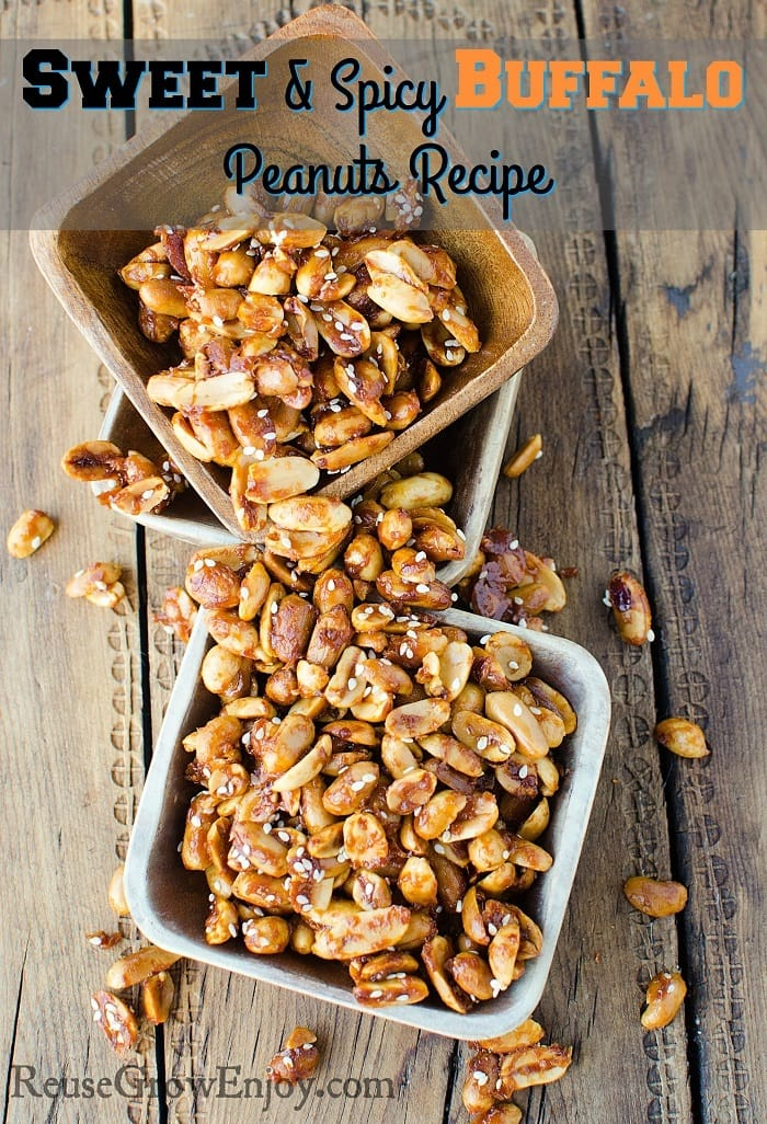 Sweet And Spicy Buffalo Peanuts Recipe. Need a new snack idea? This recipe for Sweet And Spicy Buffalo Peanuts is sure to be a hit! They have just the right touch of sweet and spicy that everyone loves. Would be great for game day or any type of party.