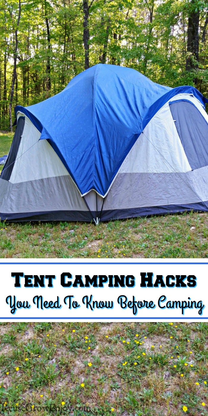 Large blue family tent on grass with trees behind. Text overlay that says Tent Camping Hacks You Need To Know Before Camping.