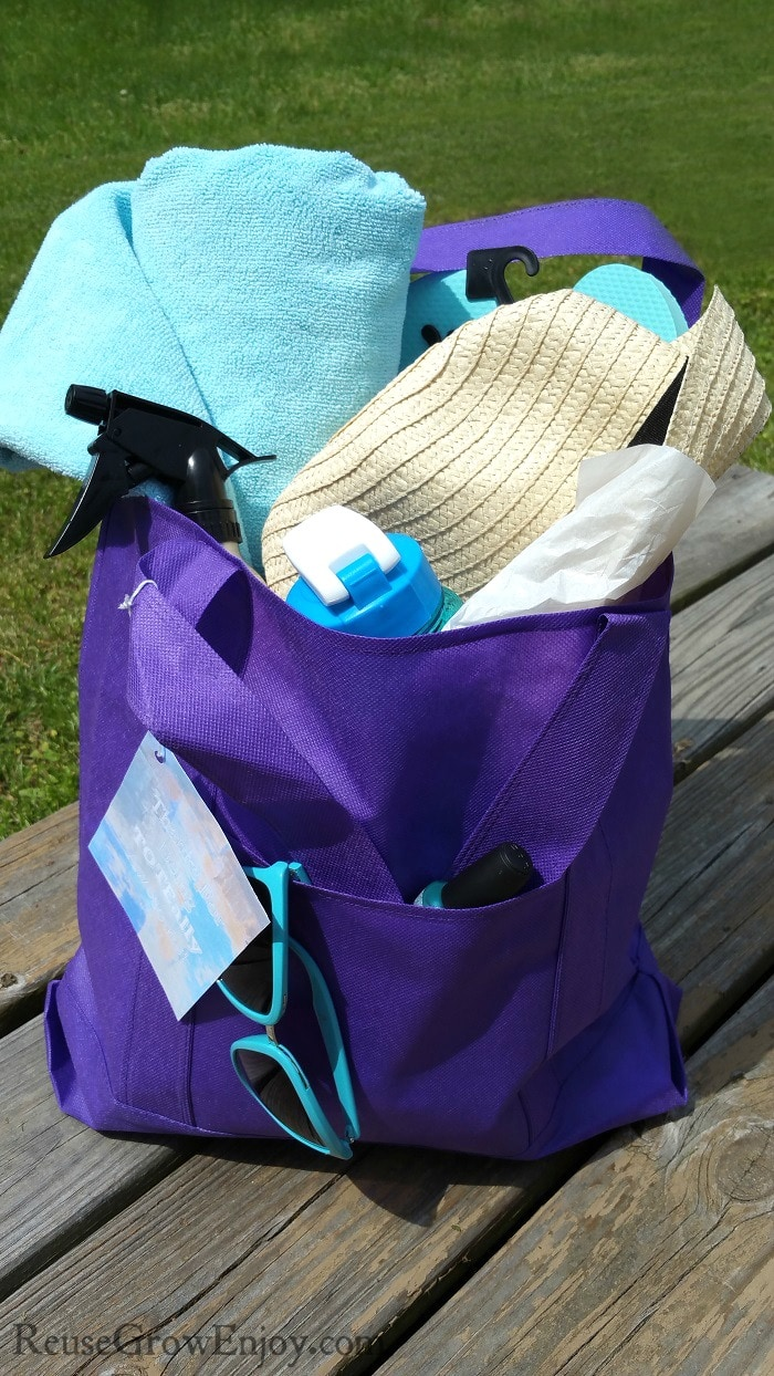 Mom Gift - Teacher Gift Thank You Tote Bag Filled With Summer Items Sitting On A Deck