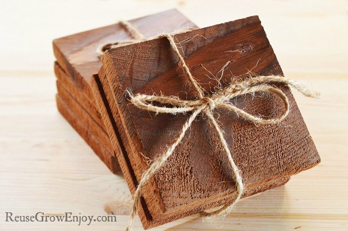If you will be giving your cedar coasters as a gift, you can bundle them with twine and tie a bow.