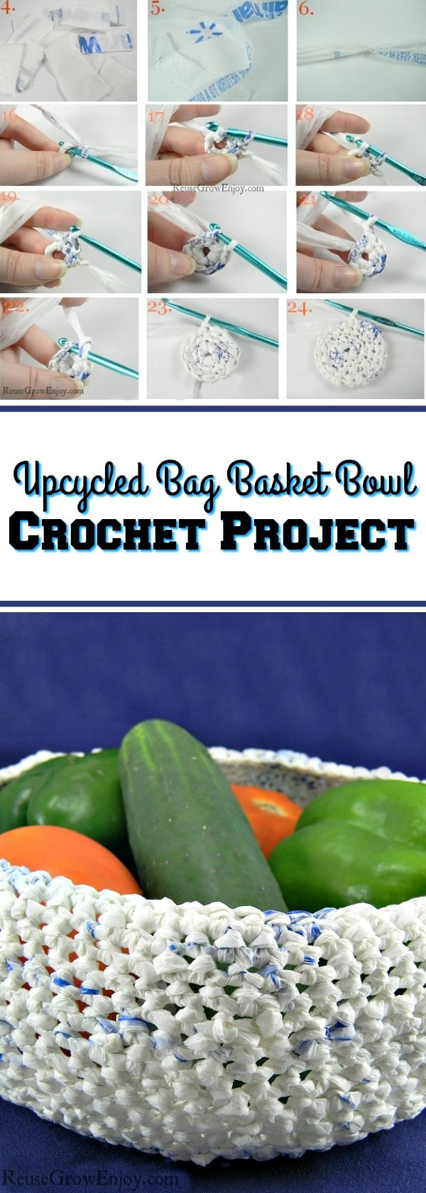 You can upcycle plastic bags into all kinds of things like jewelry, hand bags and more. Check out this idea to use upcycled bags to make a basket bowl.