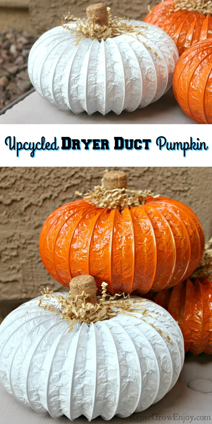 Stack of duct pumpkins at the top and bottom. Middle is a text overlay that says Upcycled Dryer Duct Pumpkin
