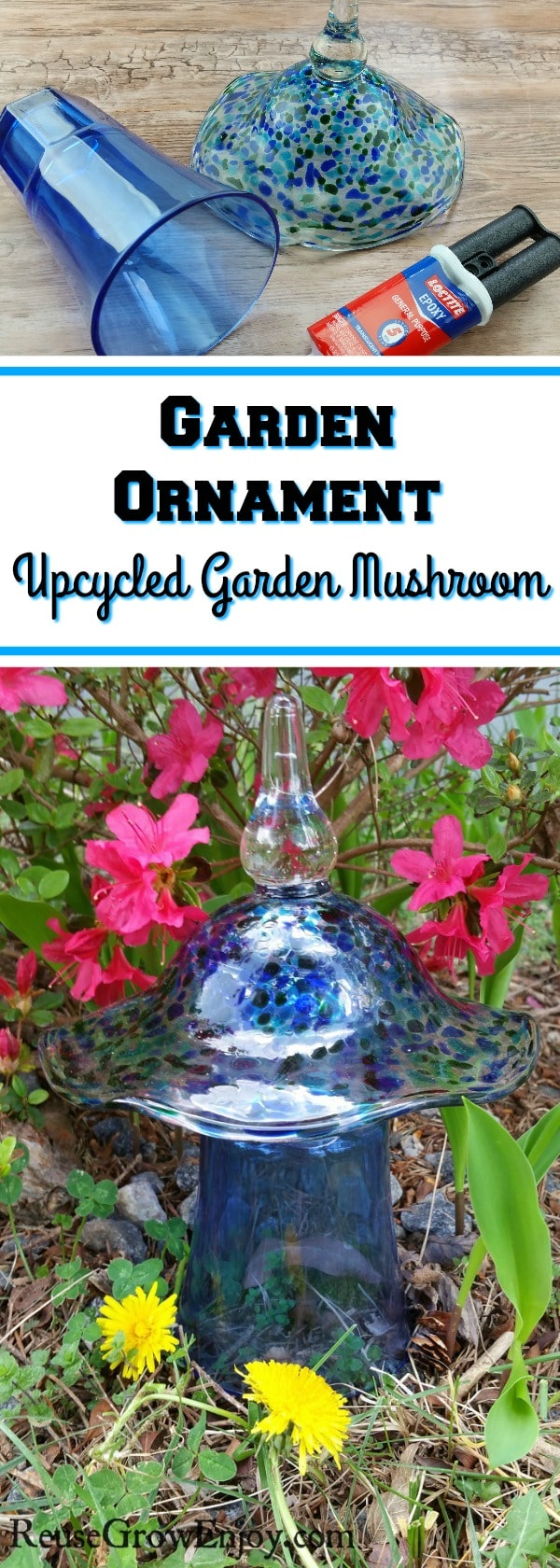 If you have some glass pieces that no longer match other items in the kitchen or maybe half have been broken, here is a cool upcycle project to check out. You can make an easy DIY mushroom garden ornament!