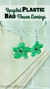 Upcycled Plastic Bag Flower Earrings