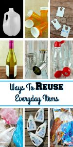 "A collage of everyday items such as milk jug, tin can, wine bottle shopping bags and so on with a text overlay that says ""Ways To Reuse Everyday Items:"