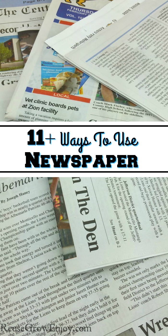 Pile of pieces of newspaper. Text overlay that says 11+ Ways To Use Newspaper.