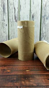 3 Empty Toilet Paper rolls laying on and in front of wood backgrounds.