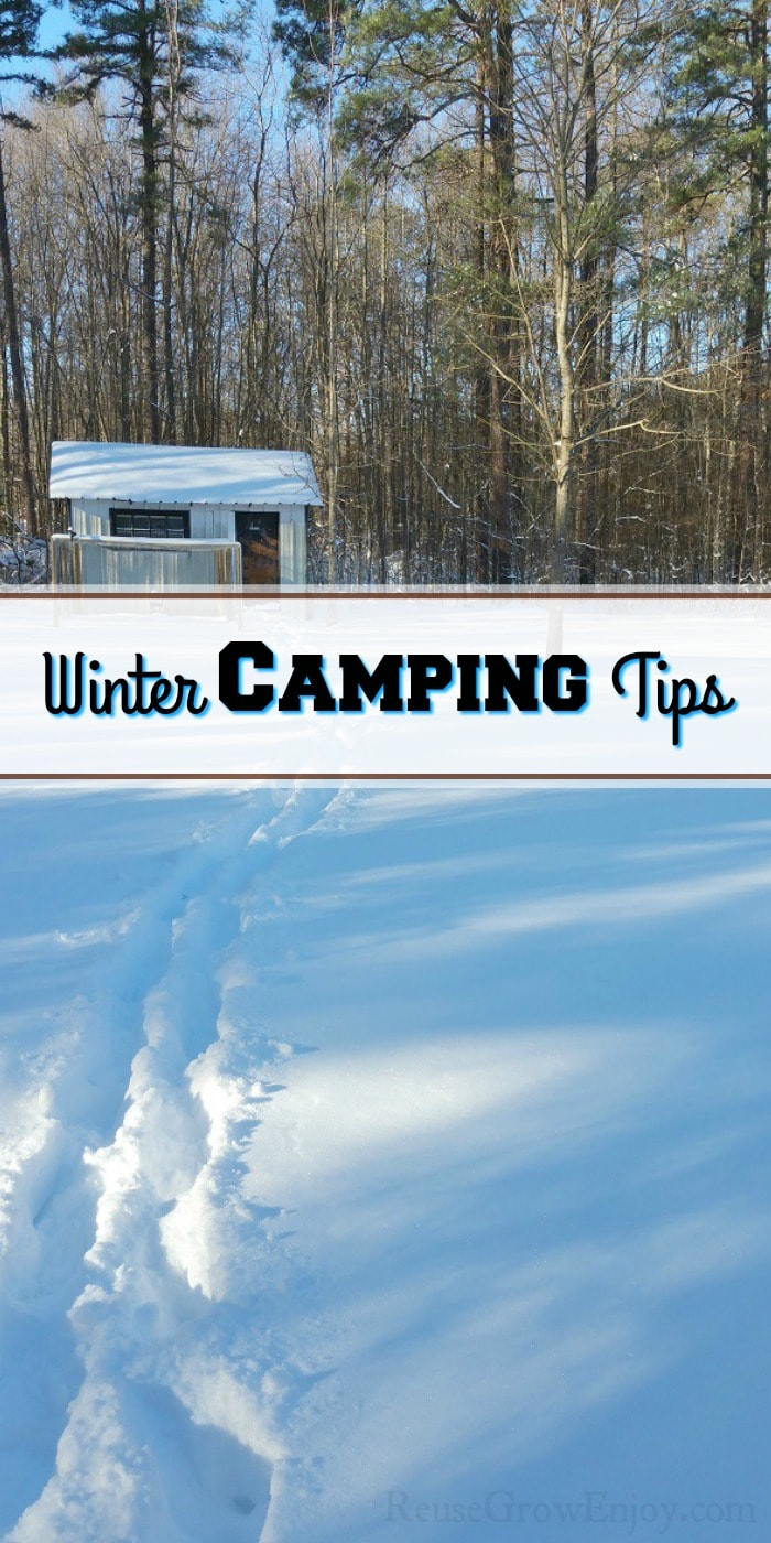 "Tracks in the snow with an old small shed in the back right in front of the woods.  Text overlay in the middle that says ""Winter Camping Tips""."