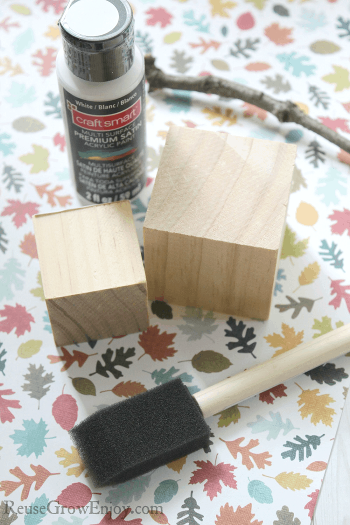 Supplies needed to make wood block pumpkins