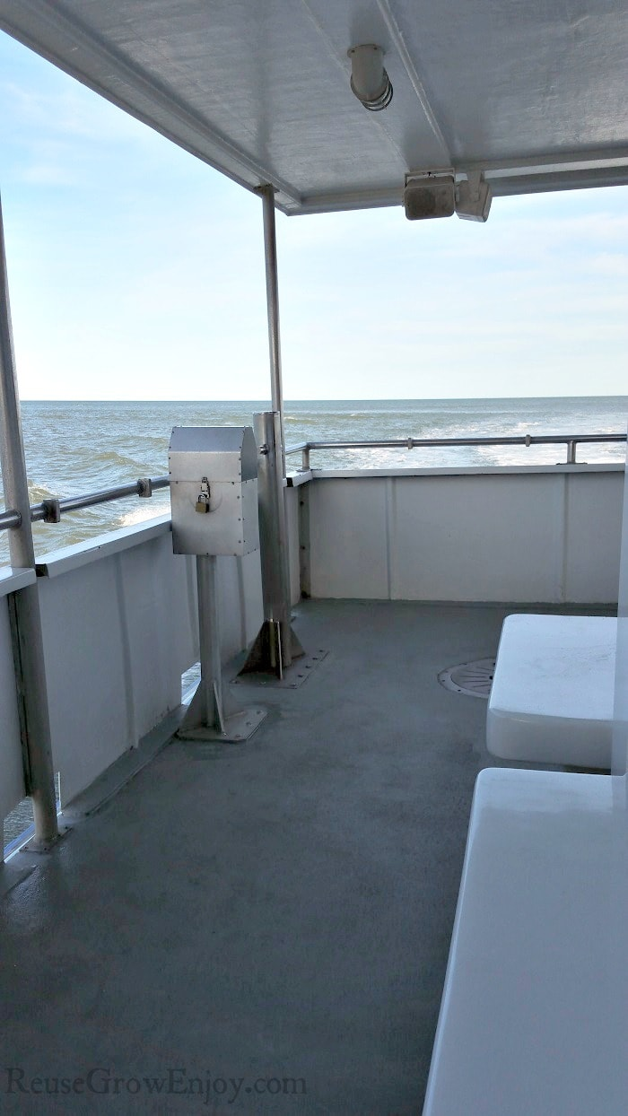 Back side outer deck of the Rudee Flipper boat.