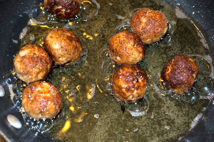 Fish balls turning brown almost down cooking in hot oil