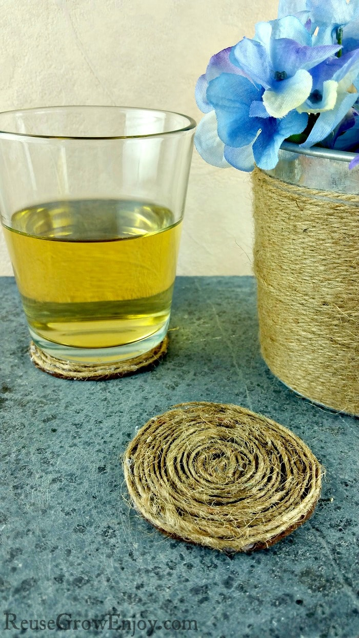 If you like to do craft projects and have a little time on your hands, I am going to show you how to make DIY coaster. These are made from felt and twine. You could even use colored twine or string if you wanted a different color.