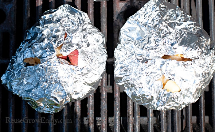 foil pouch on grill