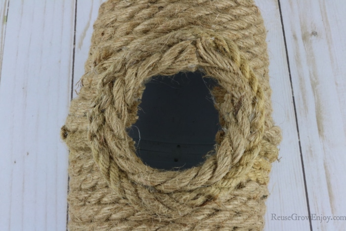wrap rope around opening to finish off